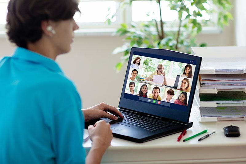 Individual on virtual meeting