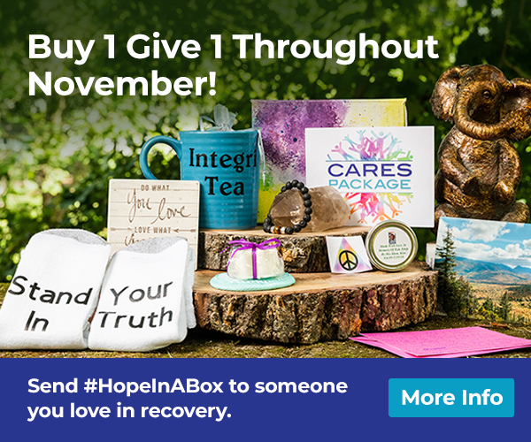 Buy 1 Give 1 flyer with CARES package socks, coffee cup and other CARES package items
